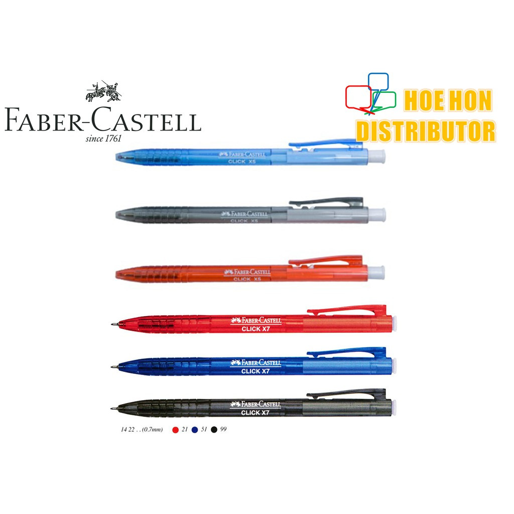 image of Faber Castell Click X Ball Pen X5 0.5mm / X7 0.7mm 1422 / Faber-Castell Click X7