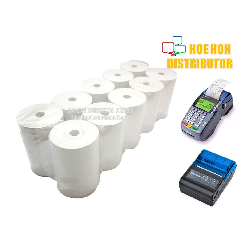 Topup / SRS / Portable Printer Thermal Paper Roll 57mm X 40mm Coreless 10'Rolls