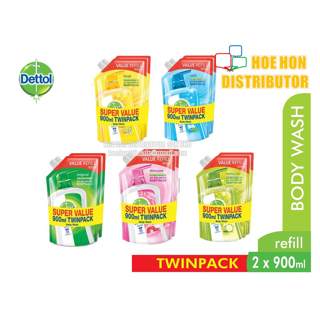 image of Dettol Anti-Bacterial Body Wash Shower Gel Refill Pouch 900ml Twin Pack
