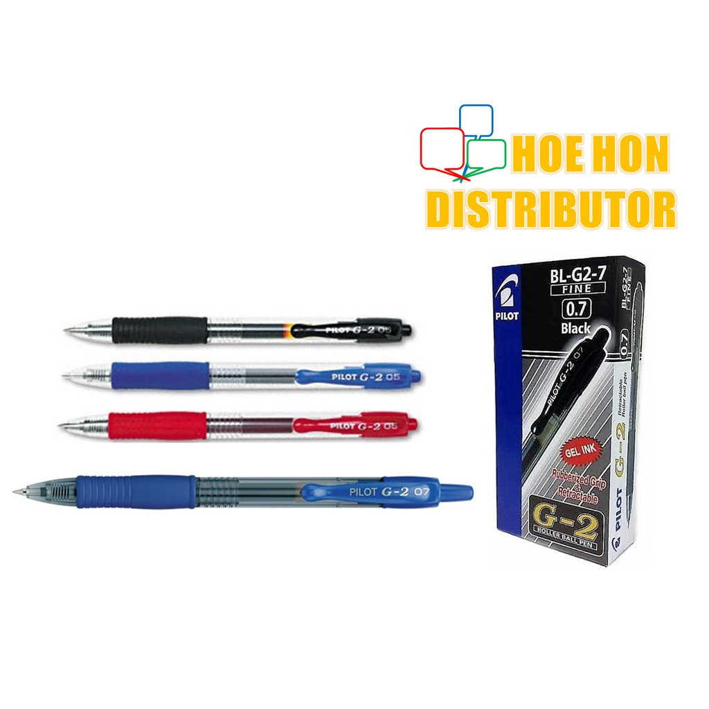 image of Pilot G2 Retractable Gel Pen 0.5mm 0.7mm 1.0mm Black Blue Red