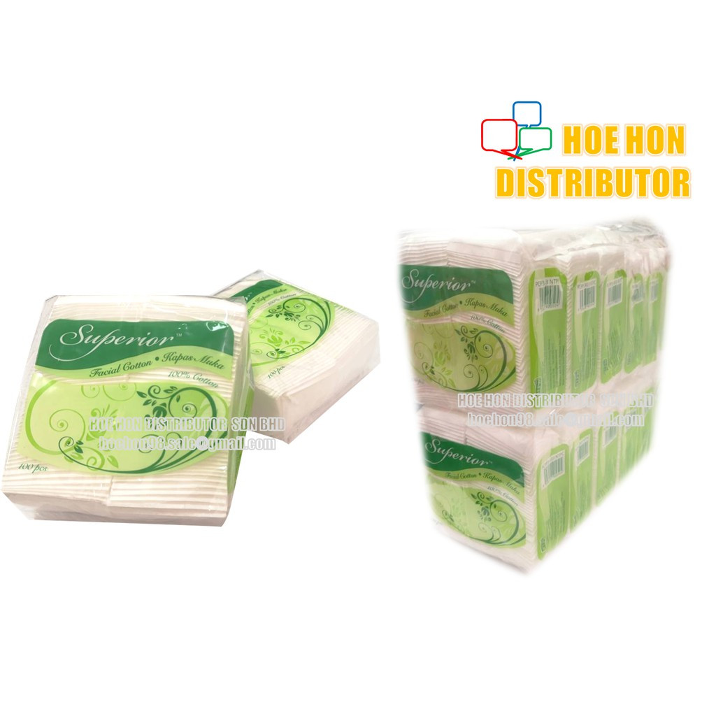 Superior Pure Facial Cotton / Kapas Muka Tebal 100 Pads