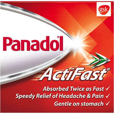 Panadol Actifast 10 Tablets / Strip Headache, Paracetamol, Fever