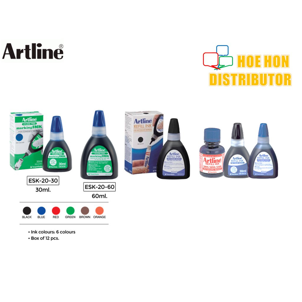 image of Artline Whiteboard / Permanent Marker Refill Ink 30 Ml 60 Ml (500A 509A 70 90)