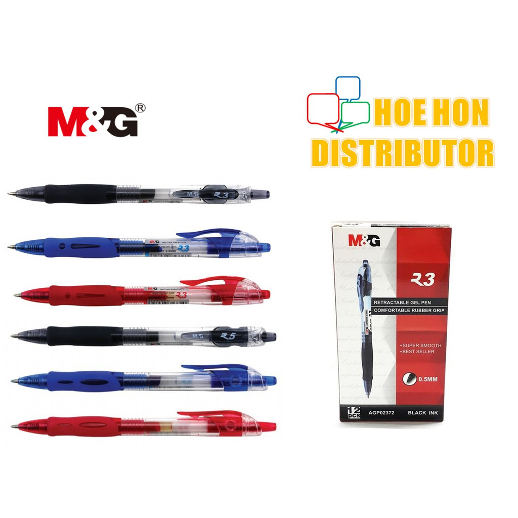 M&G Retractable Gel Pen R3 0.5mm R5 0.7mm Black, Blue, Red AGP02372