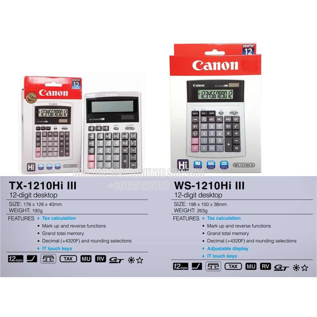 Canon Calculator LC 210Hi 3 / LS 88Hi 3 / AS 120V / WS-1210Hi 3 / TX 1210Hi 3
