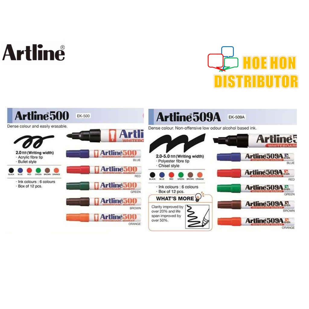image of Artline Whiteboard Marker Black, Blue, Red, Green, 500A 509A 500 509