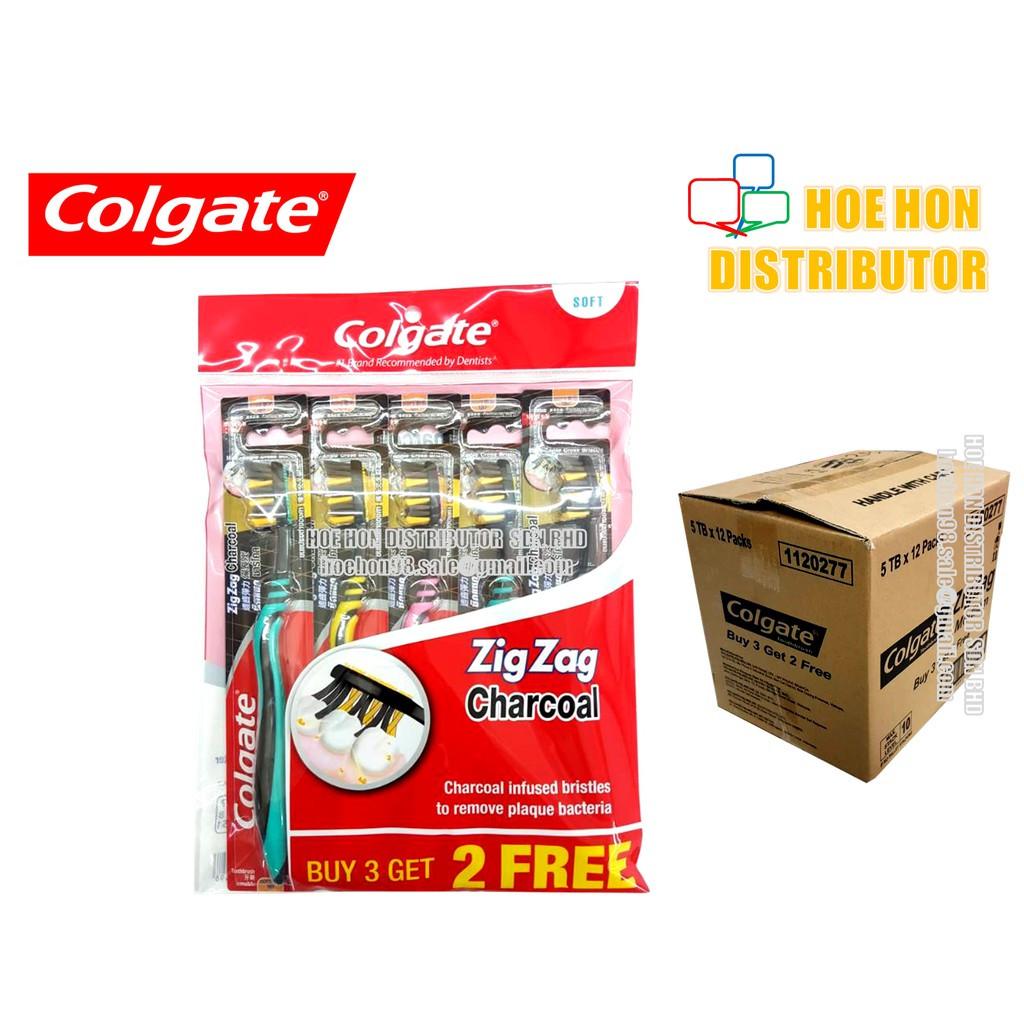 image of Colgate Zigzag / Zig Zag Charcoal Soft Toothbrush 5pcs / Pack