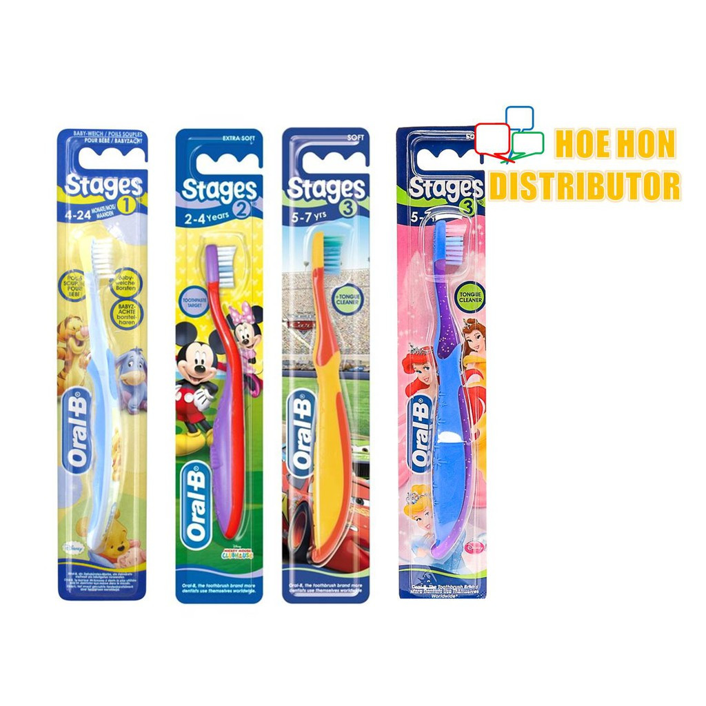 image of Oral-B Stages 1, 2, 3 Baby / Kid Disney Junior Toothbrush 4 Month To 7 Years Old