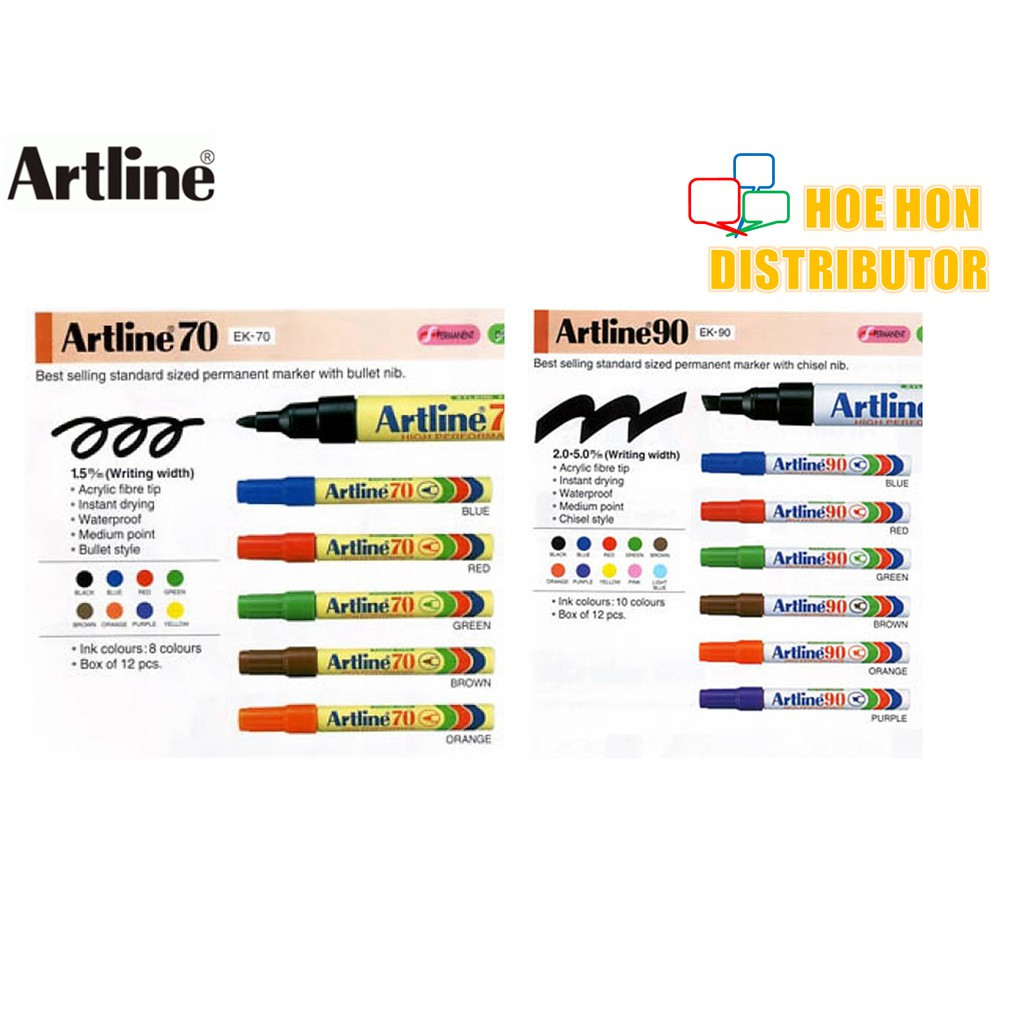 image of Artline Permanent Marker 70 / 90 Black, Blue, Red