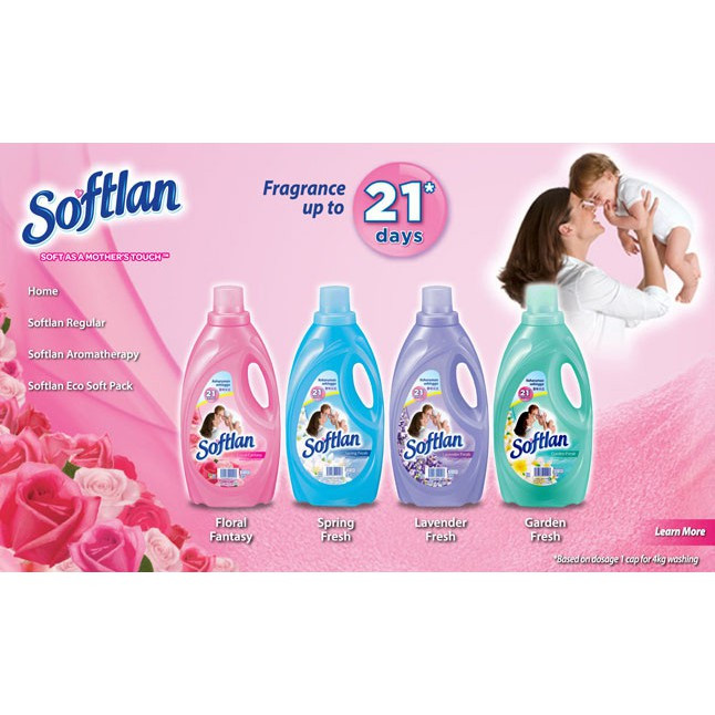 Softlan Anti Wrinkles / Aroma Therapy Fabric Softener 1.7L 1.8L