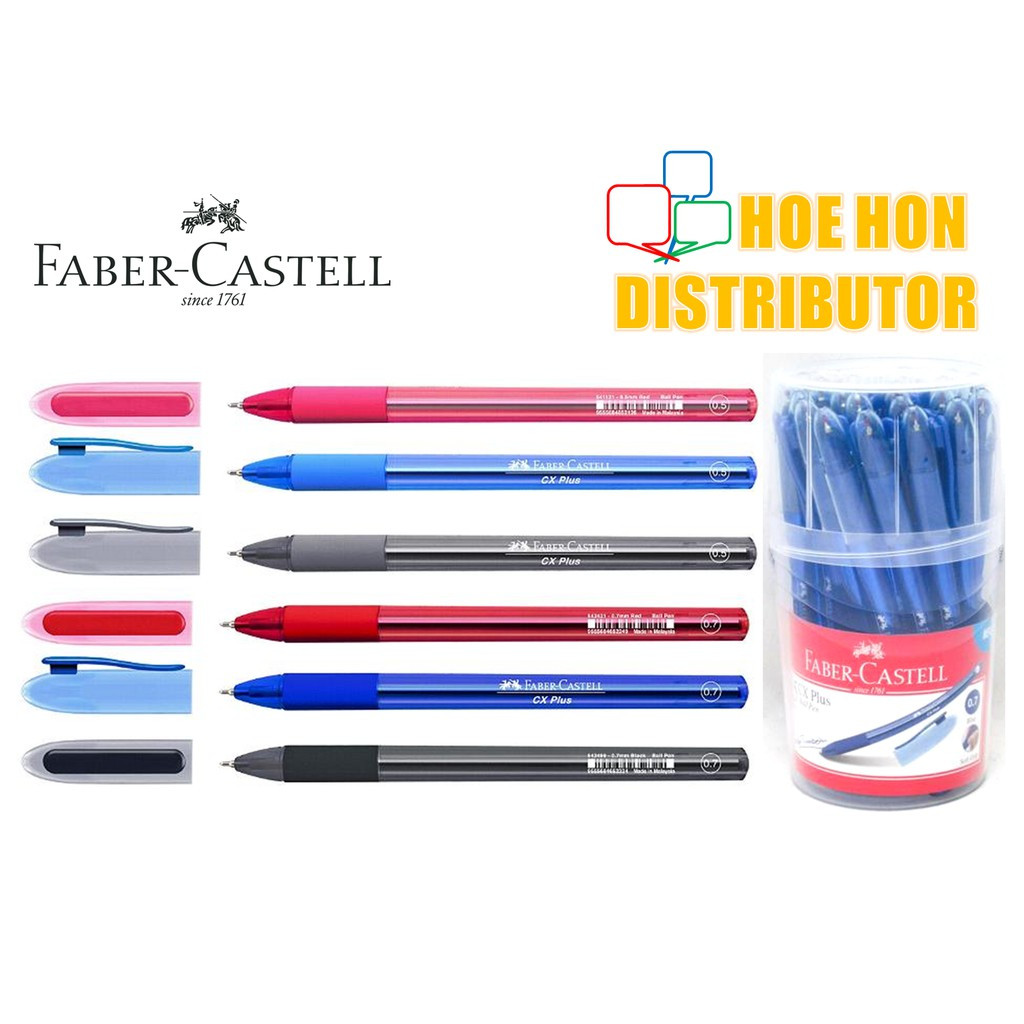 image of Faber Castell CX Plus 0.5mm 0.7mm Pen Black, Blue, Red