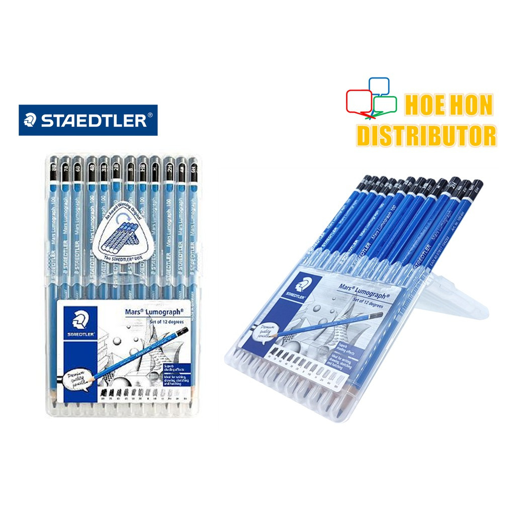 image of Staedtler Mars Lumograph Pencil Set Of 12 Degrees 8B 7B 6B 4B 3B 2B B HB H 2H 4H