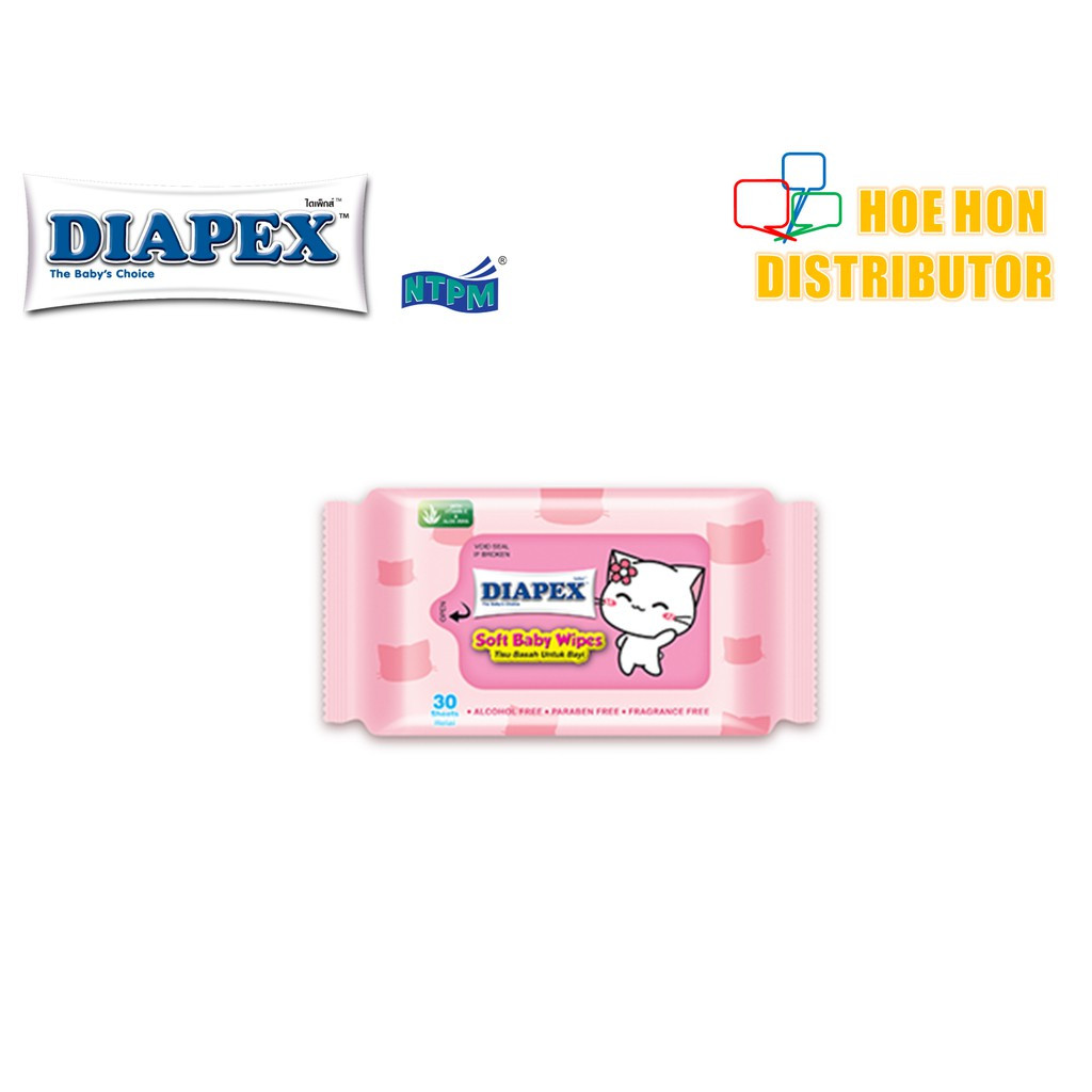 image of Diapex Soft Baby Wipe Wet Tissue / Tisu Basah Bayi 30 Sheet