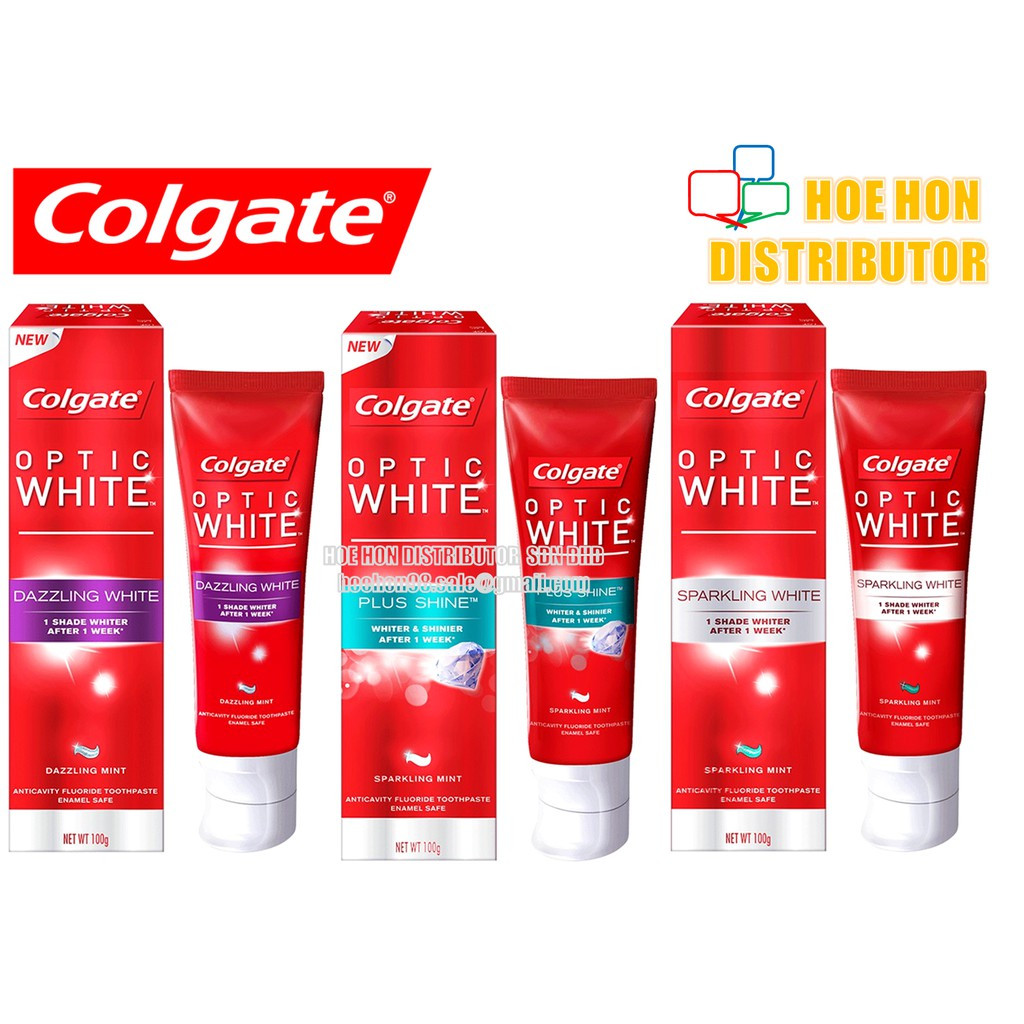 image of Colgate Optic White Toothpaste 100g Instant, Sparking, Dazzling, Plus Shine