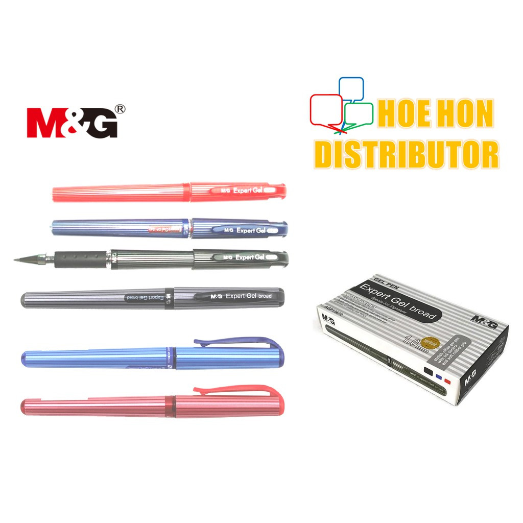 image of M&G Expert Gel Pen 0.7mm 1.0mm Black Blue Red