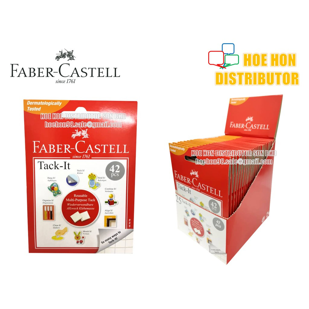 image of Faber-Castell Tack-It / Faber Castell Tack It Reusable Adhesive 42pcs Blue Tack