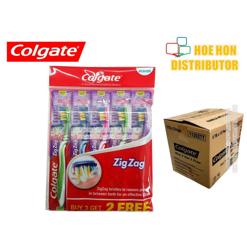 image of Colgate Zigzag / Zig Zag Medium Soft Bristle Toothbrush Buy 3 Free 2 / 5pcs