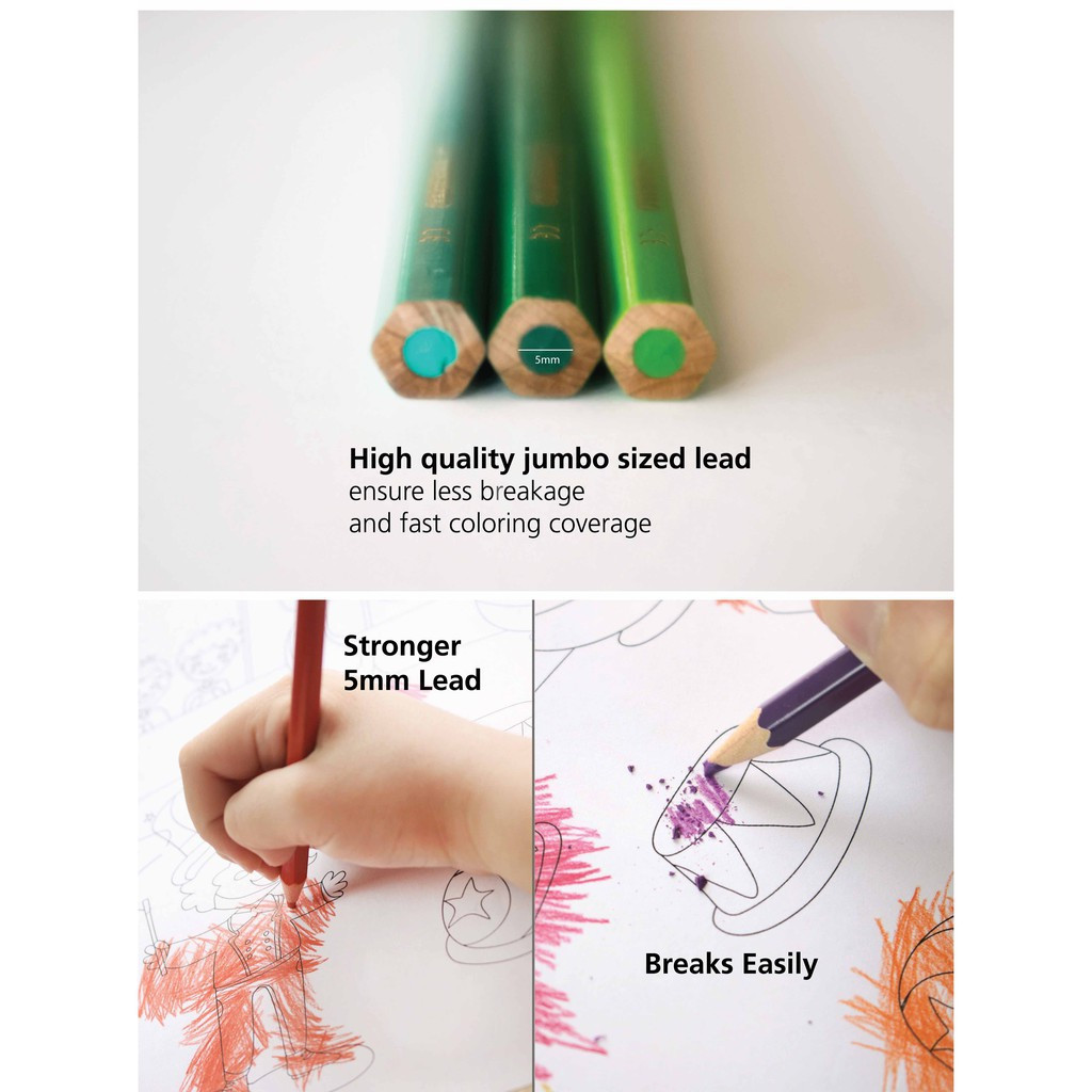 Stabilo Swans Jumbo Colour / Color Pencil Warna Stabilo 12s 12L 18c 24c