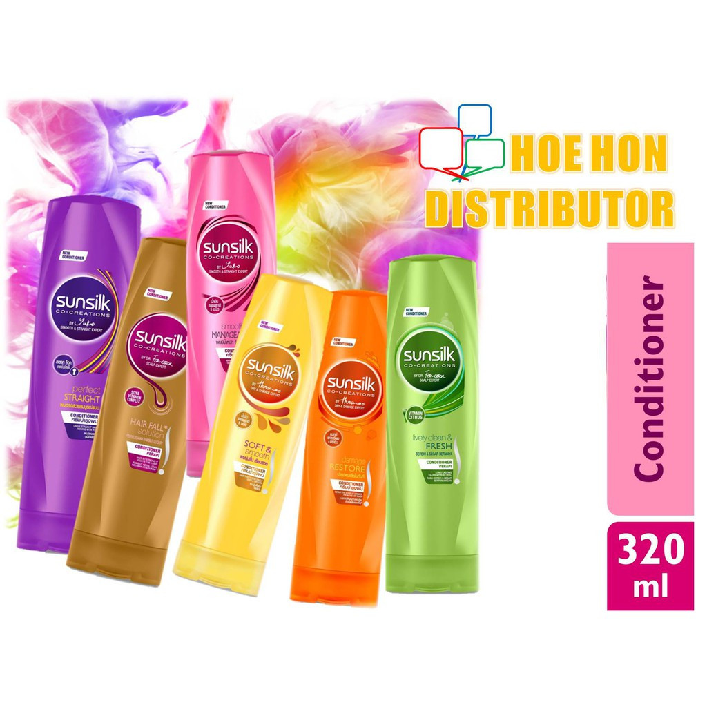 Sunsilk Conditioner 320ml Smooth Soft Lively Clean Fresh Hairfall Anti Dandruff