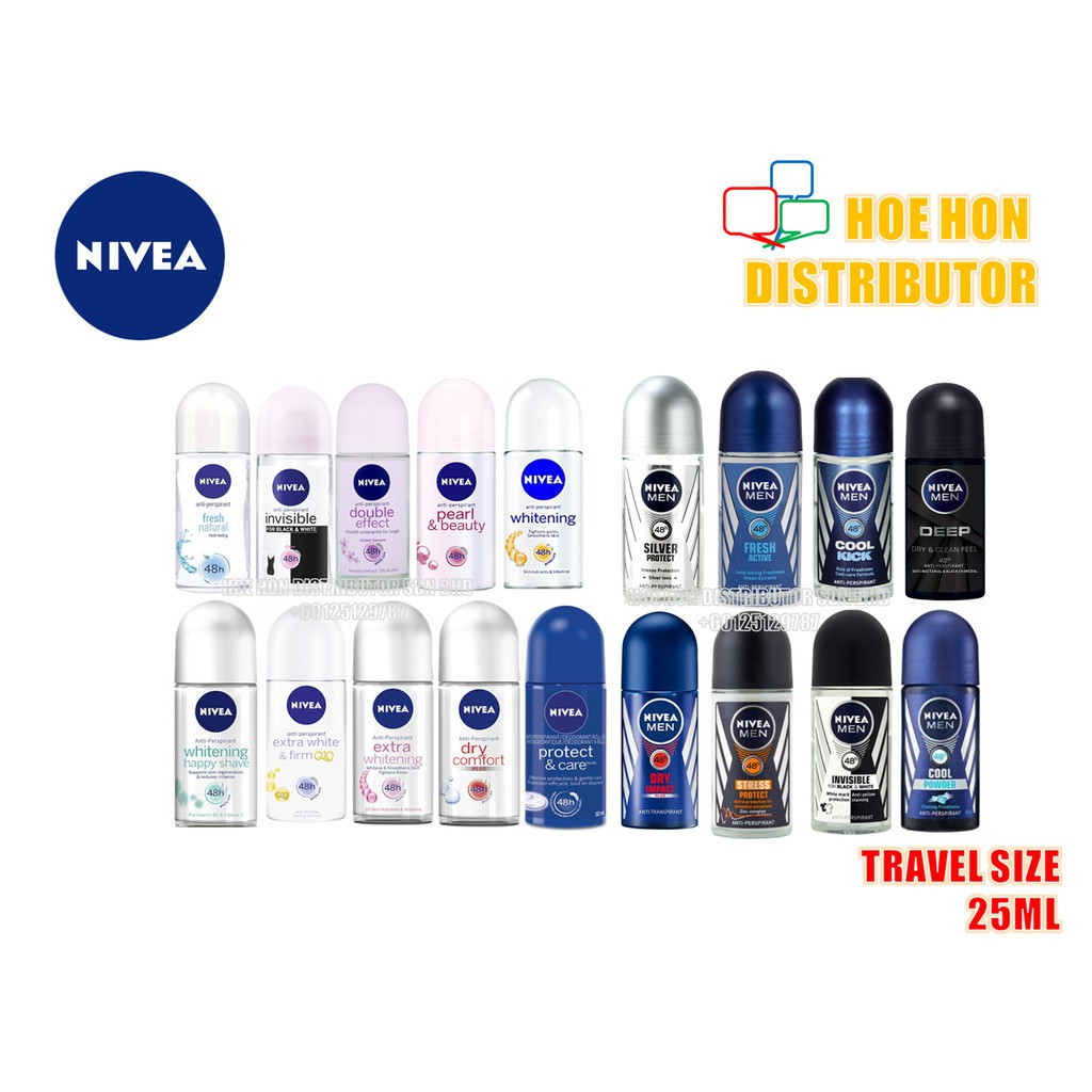 Nivea Deodorant Roll On 25ml (Travel Size, Easy Carry Size)