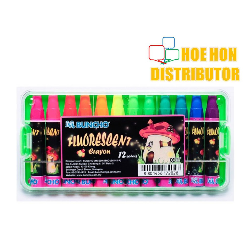 image of Buncho Fluorescent Crayon 12 Colors (Buncho Oil Pastel)