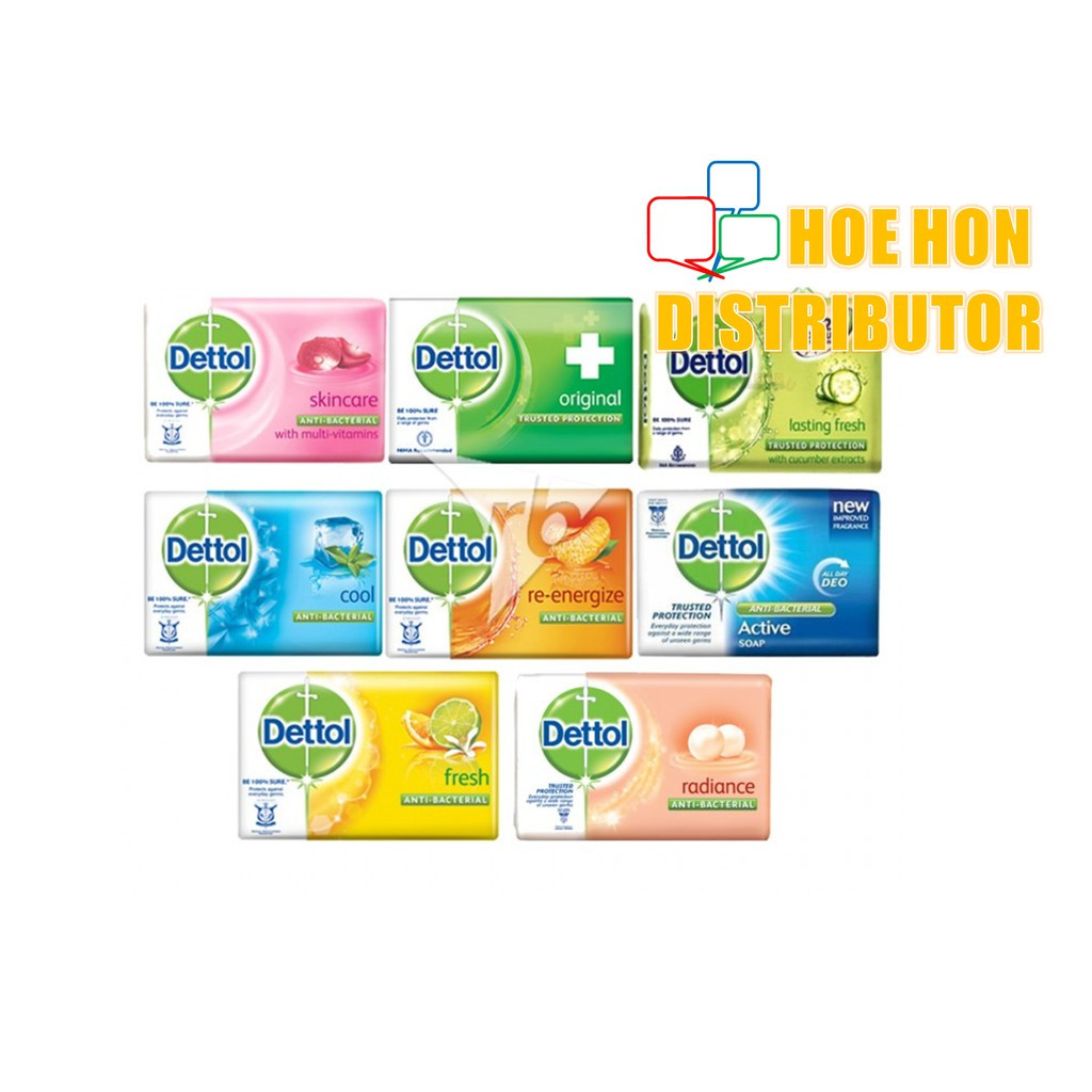 image of Dettol Soap 105g 3+1 Original, Fresh, Active, Cool, Skincare Anti Bacterial Soap