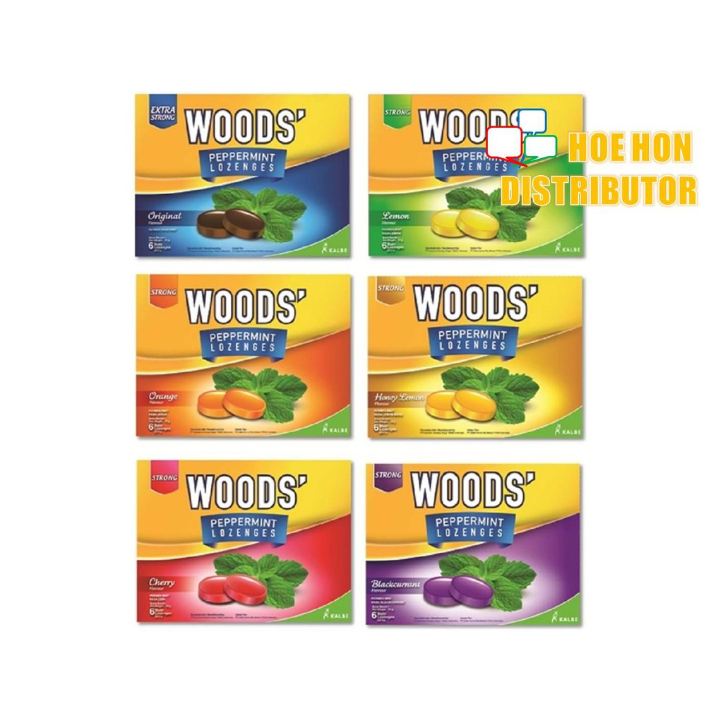 image of Woods Lozenges Peppermint Sore Throat Drops 6 Drops 2.5g Guka Sakit Tekak HALAL