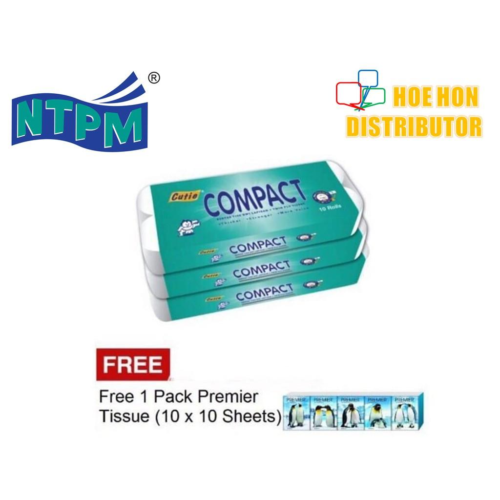 Cutie Compact Multipurpose Toilet Facial Hygiene Tissue 180g / 1.8kg 10 Roll