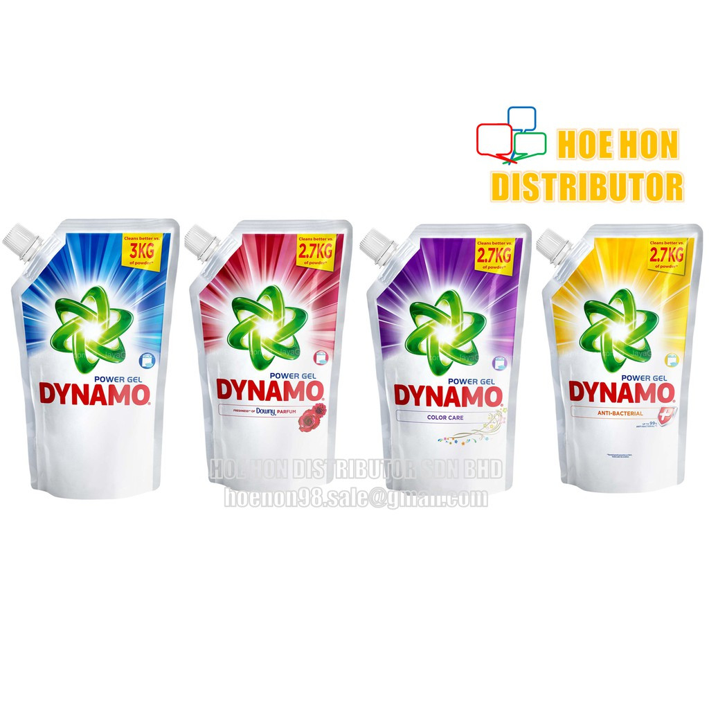 image of Dynamo Concentrated Power Gel Downy, Anti Bacterial, Color Care 1.6kg / 1.44kg