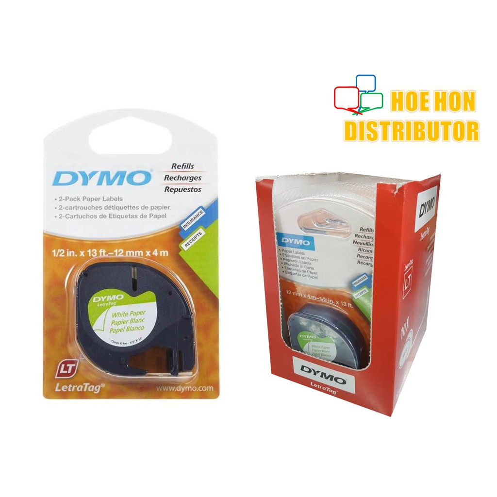 image of Dymo Letratag Label Marker Cartridge Paper White Refill 12mm X 4m