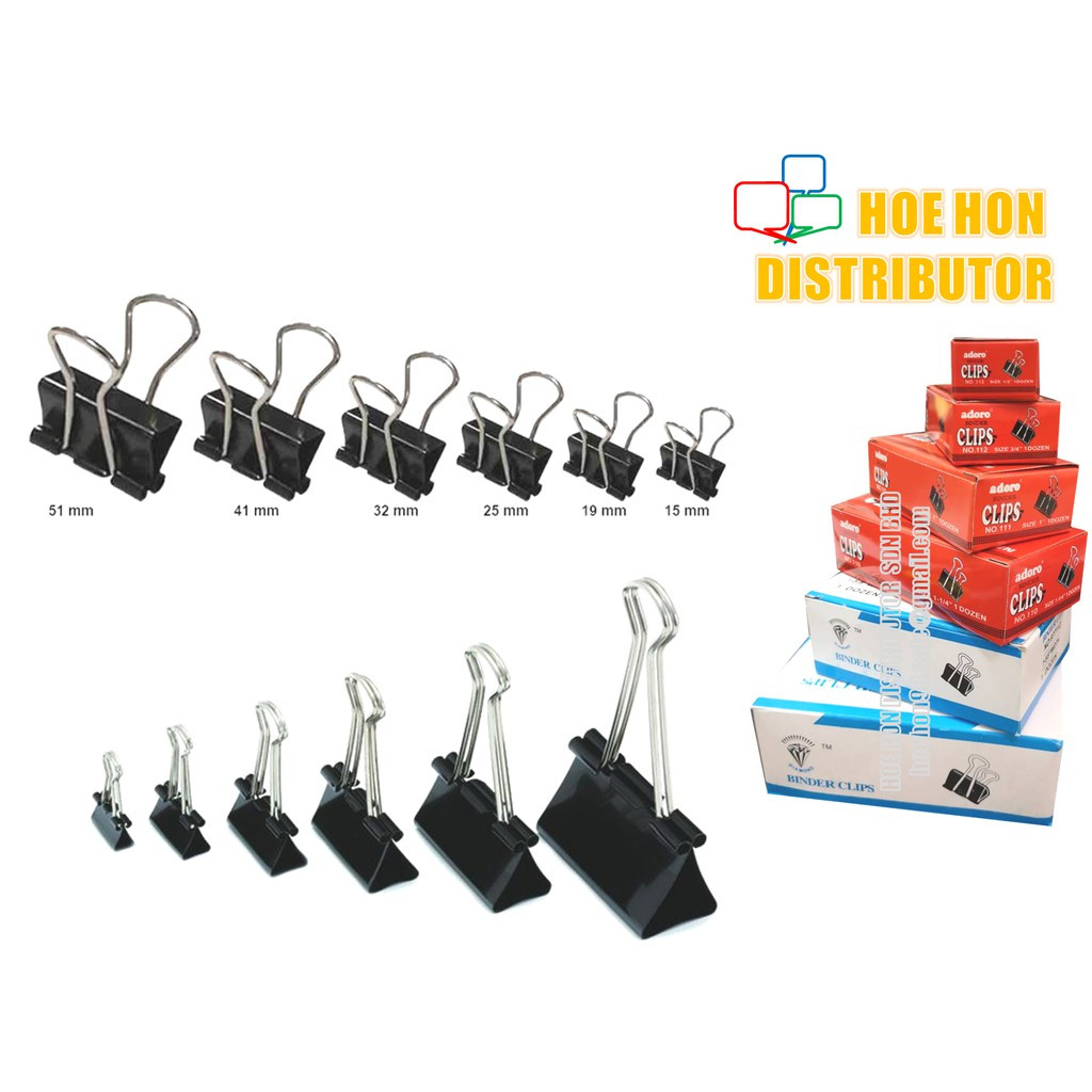 image of Multipurpose Binder Clips All Size 12pcs / Box