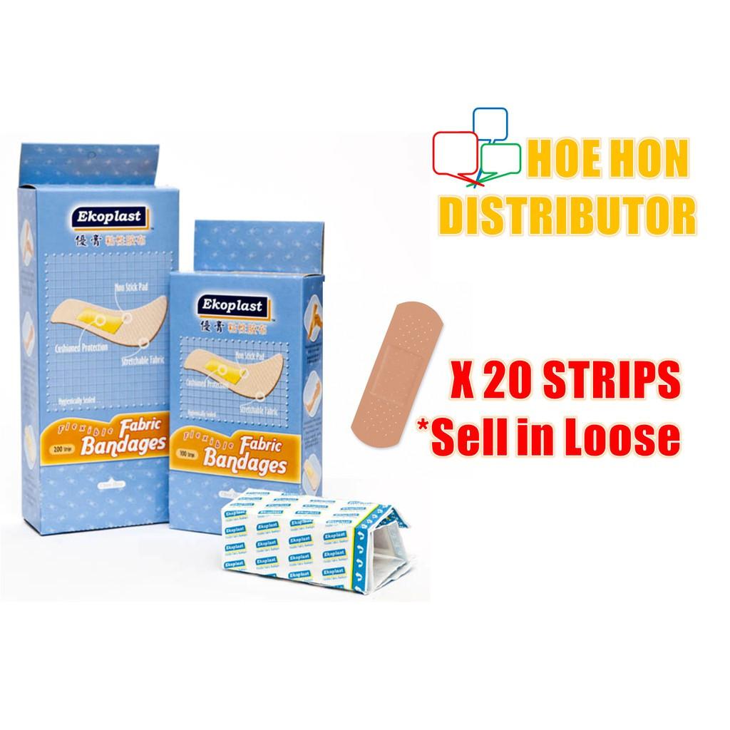 image of Ekoplast Flexible First Aid Bandages 20 Strips / Plaster Luka Berubat # Topplast