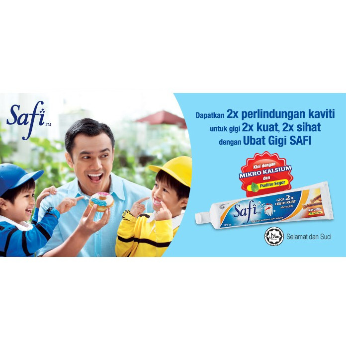 Safi Toothpaste 175g Kayu Sugi, Gamat, Oren Herba / Safi Ubat Gigi 175g