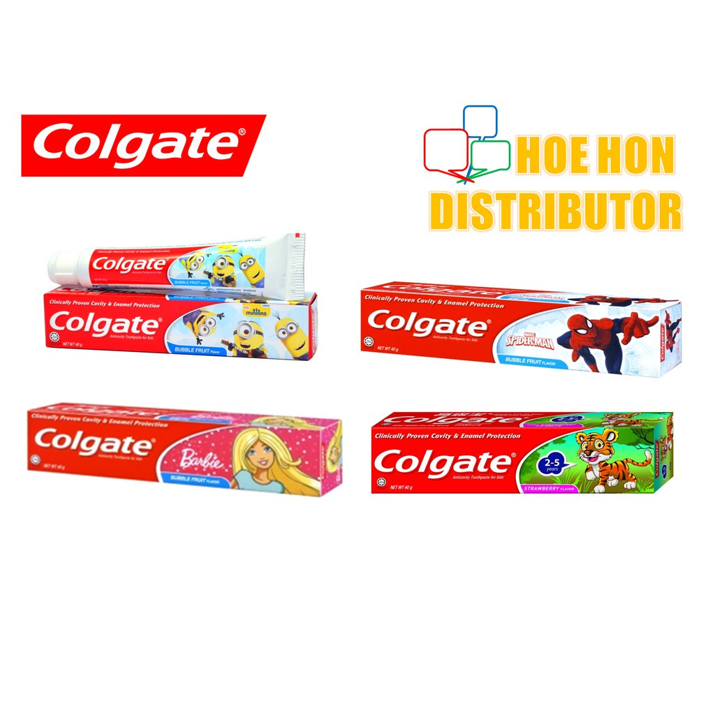 image of Colgate For Kids 40g Bubble Fruit / Strawberry Flavor Minion, Spiderman, Barbie