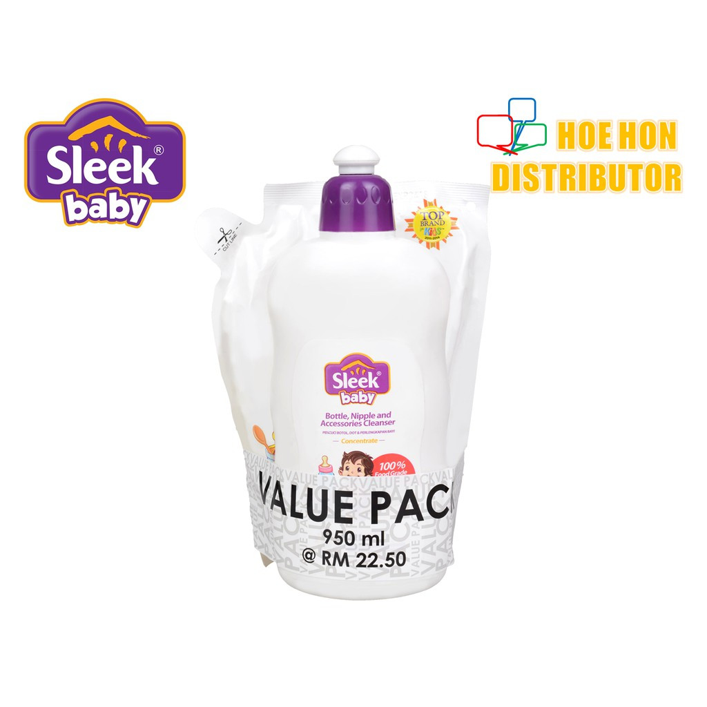 image of [Value Pack] Sleek Baby Bottle Nipple Cleanser Refill Pouch 500ml + 450ml