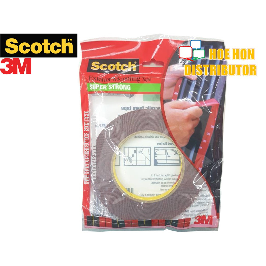 image of 3M Scotch Exterior Mounting Tape 10mm X 8m Double Sided Acrylic Foam Tape