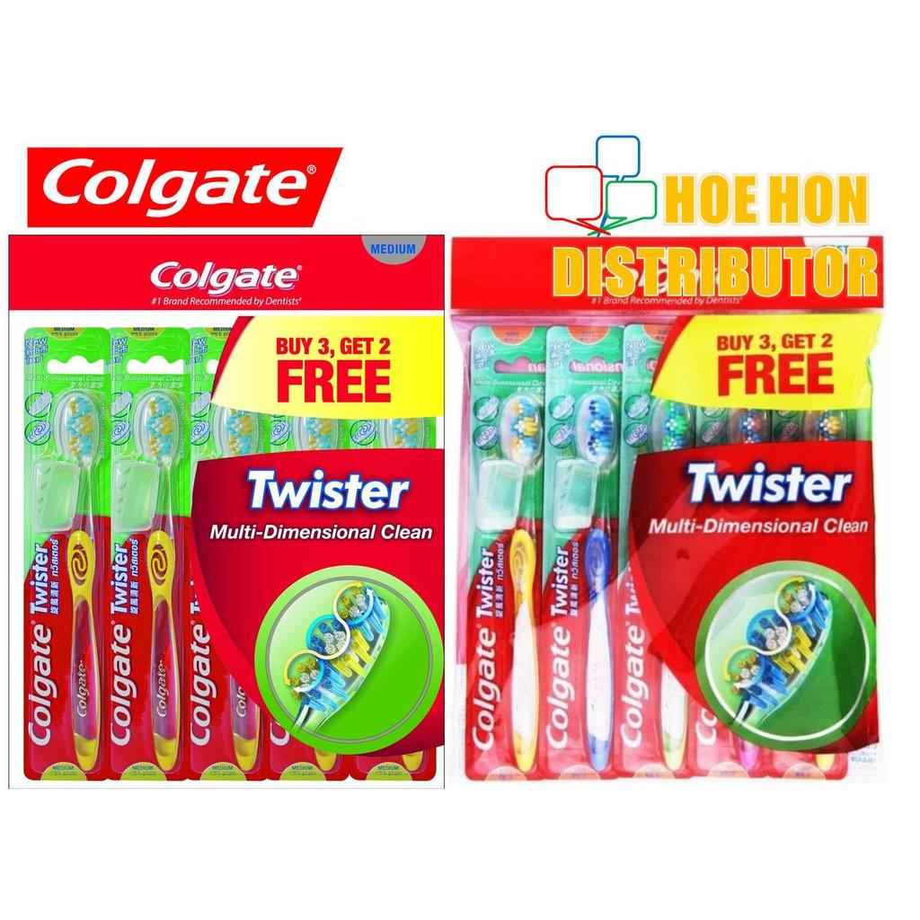 image of Colgate Twister Medium / Soft Toothbrush (Buy 3 Free 2) # Oral-B Toothbrush