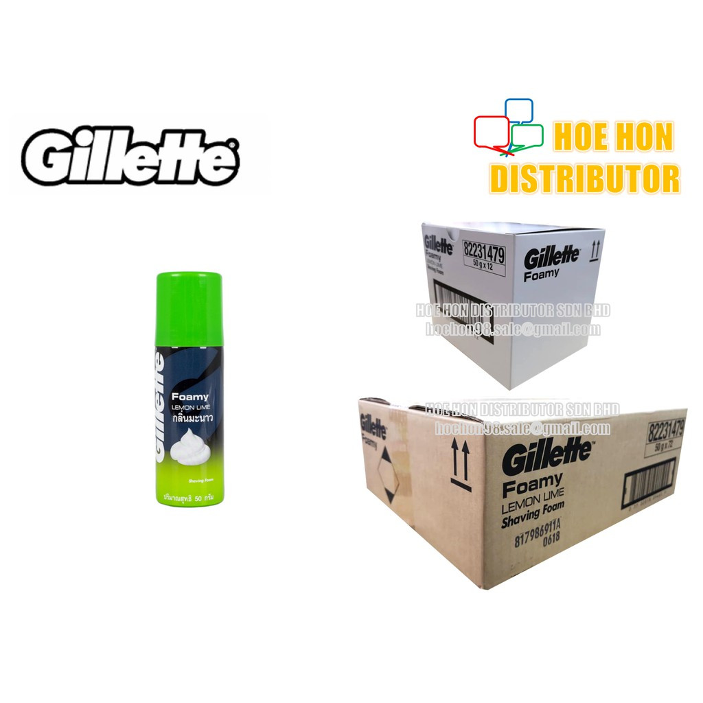 image of Gillette Shaving Foam / Shave Foamy Lemon Lime 50g (Travel Pack)