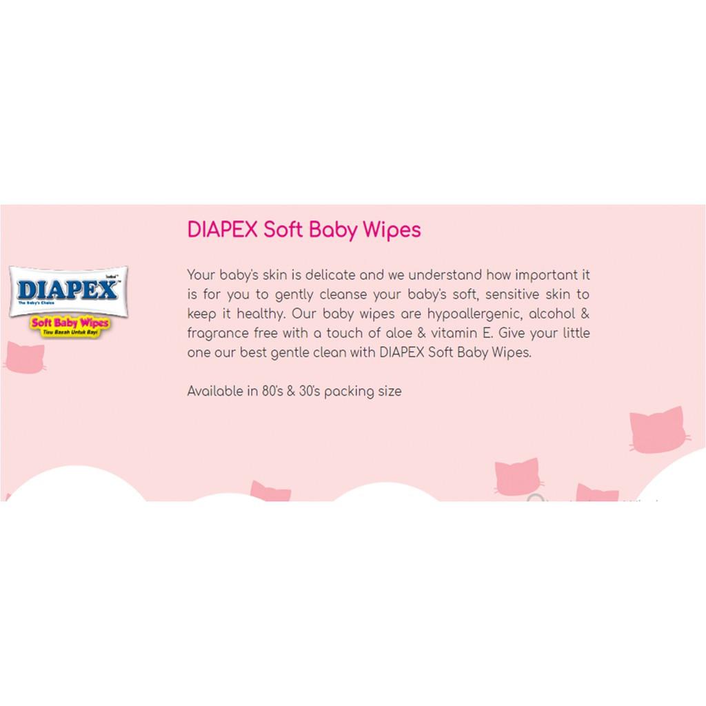 Diapex Soft Baby Wipe Wet Tissue / Tisu Basah Bayi 30 Sheet X 2 Pack