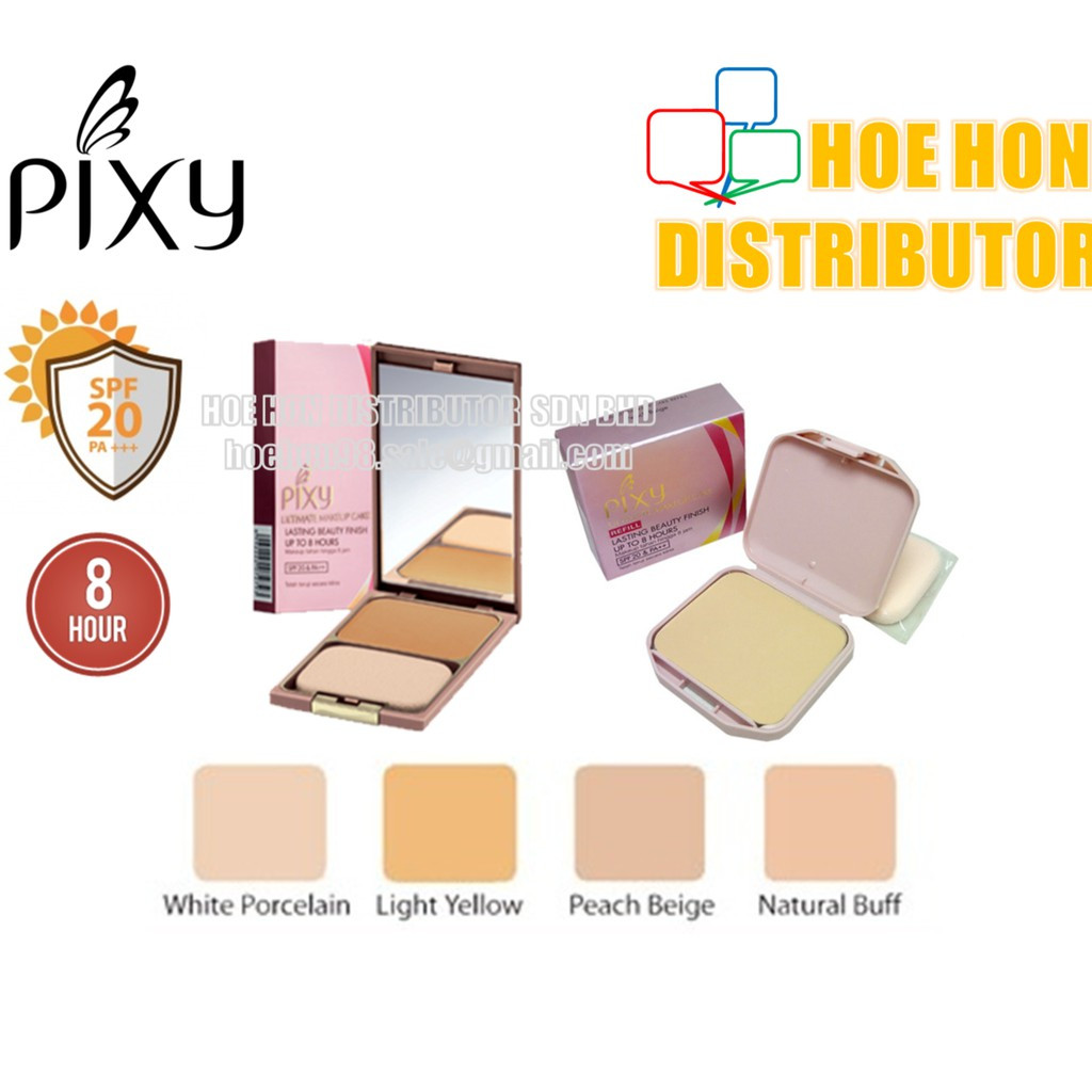 image of Pixy Ultimate Makeup Cake Refill White Porcelain, Peach Beige, Natural Buff
