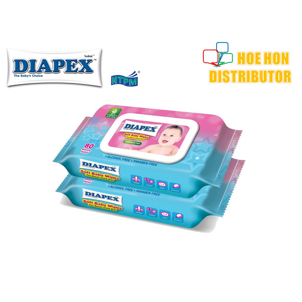 image of Diapex Soft Baby Wipe Wet Tissue / Tisu Basah Bayi 80 Sheet X 2 Pack