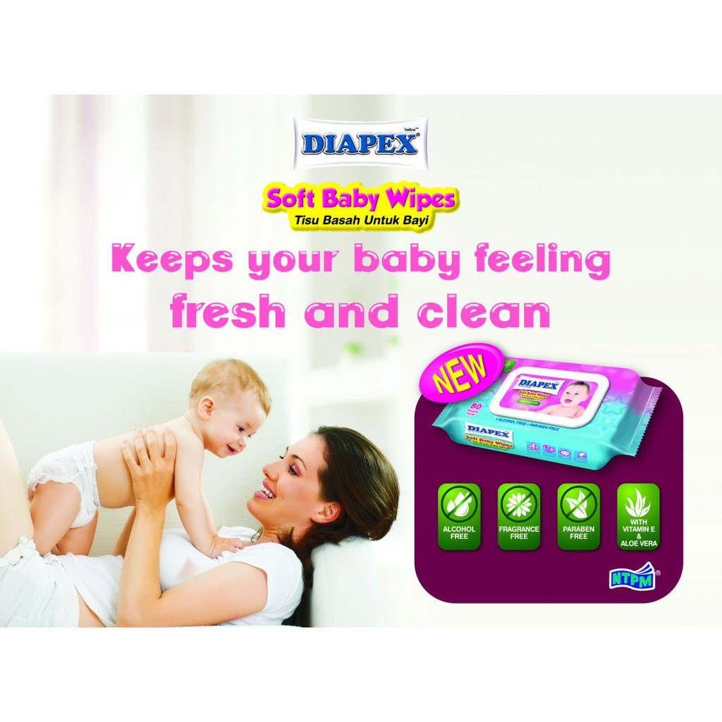 Diapex Soft Baby Wipe Wet Tissue / Tisu Basah Bayi 80 Sheet X 2 Pack