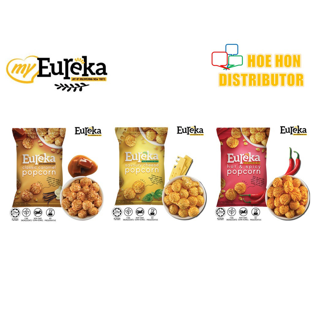Eureka Popcorn 80g Classic Caramel, Savoury Cheese, Hot & Spicy (HALAL) Malaysia