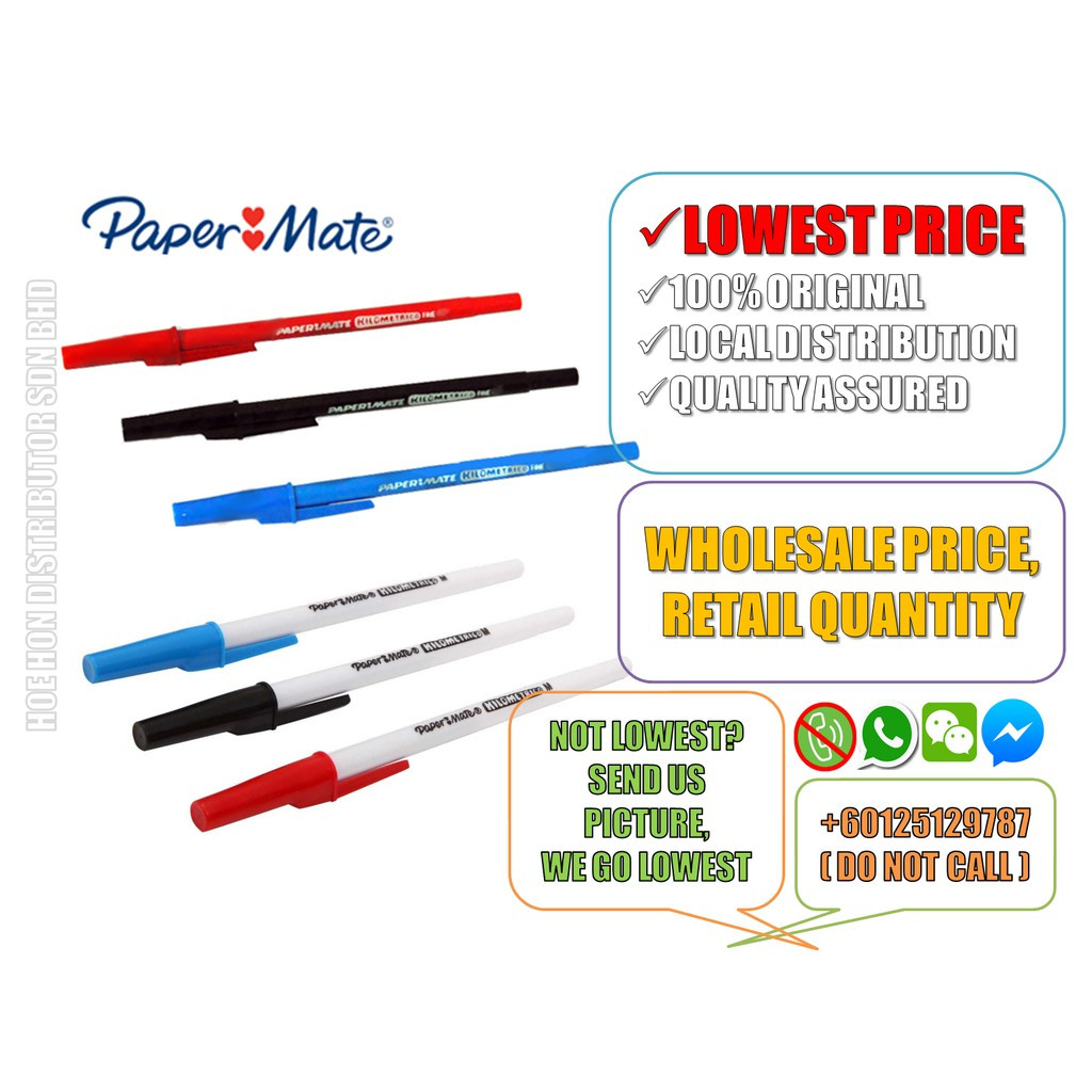 image of Papermate Kilometrico Ball Pen 0.8mm Fine / 1.0mm Medium (ORIGINAL)