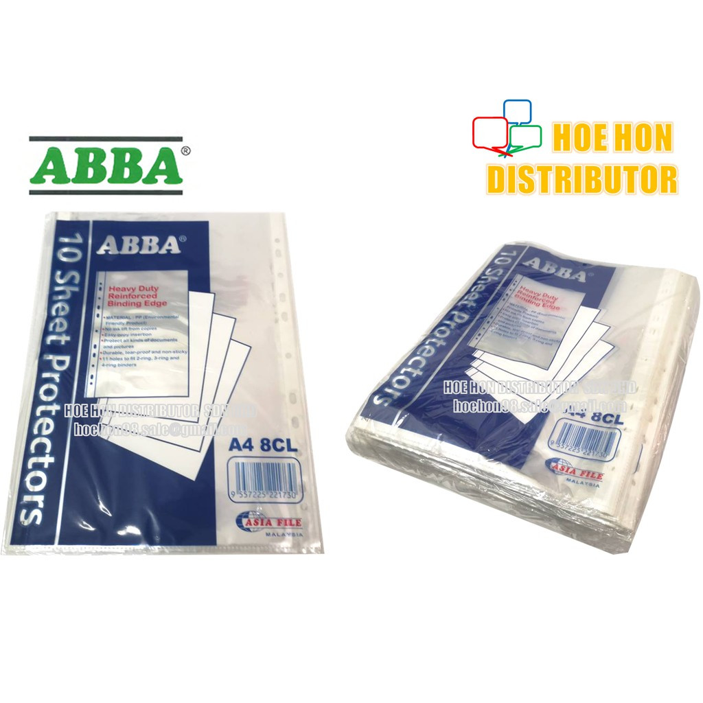 ABBA A4 Paper Sheet Protector 10pcs / Pack (Tebal / Thick Plastic) 8CL