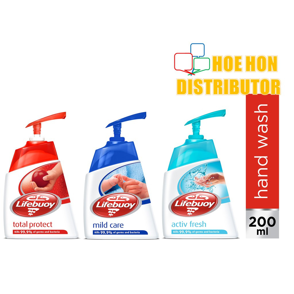 image of Lifebuoy Handwash 200ml Hand Wash 200ml, Total Protect, Mild Care, Activ Fresh
