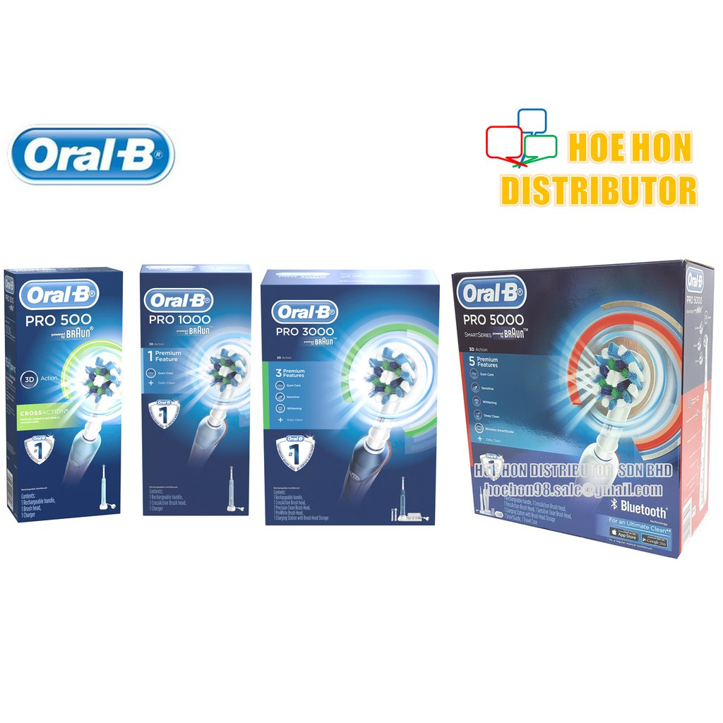 Oral B Rechargeable, Electric Toothbrush Pro 500, Pro 1000, Pro 3000, Pro 5000
