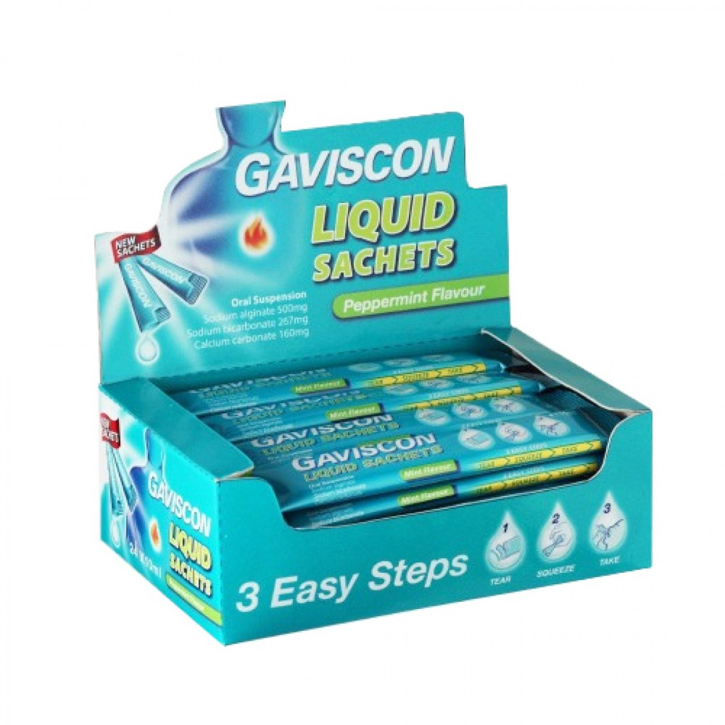Gaviscon Original Liquid Sachets Peppermint Flavour 10ml Indigestion, Heart Burn