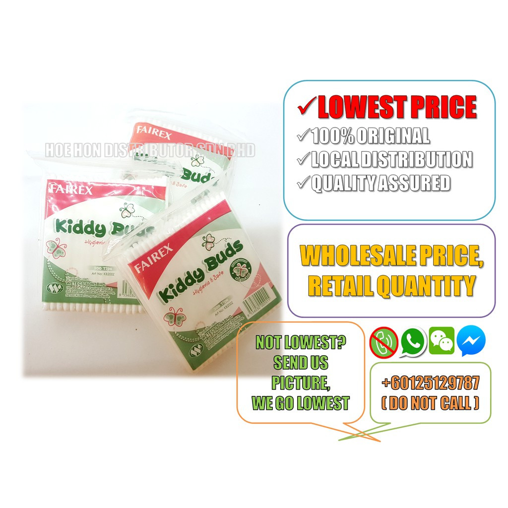 image of Fairex Kiddy Buds 200 Tips (Baby Cotton Bud, Zip Lock Bag) Kapas Telinga Bayi
