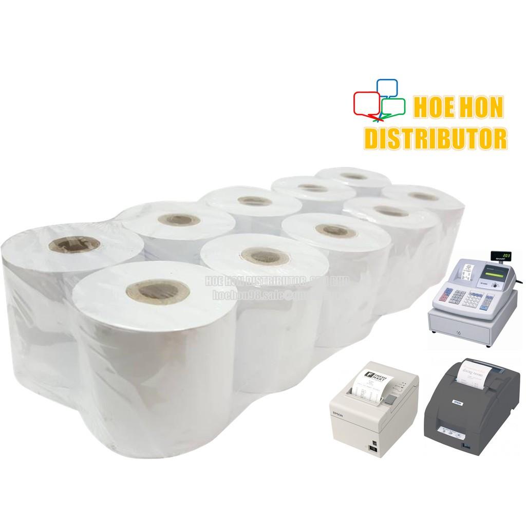 image of Cash Register Receipt Printer White Paper Roll 57mm X 60mm X 12mm X10Rolls